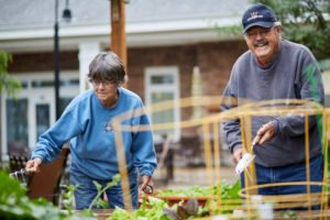 elderly couple gardenning