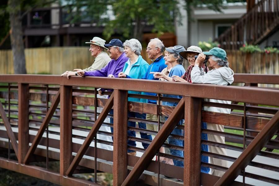 seniors birdwatching on a bridge