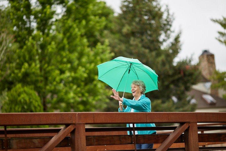 senior woman on a bridge