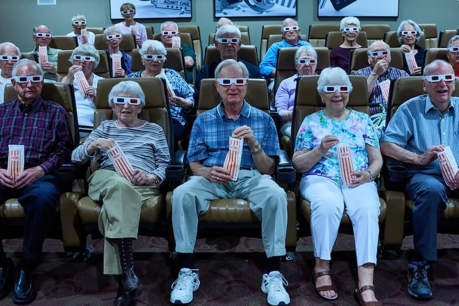 seniors watching a movie