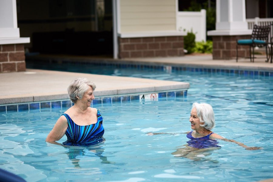 residents in pool