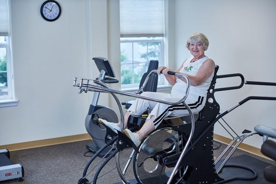 senior woman on elliptical