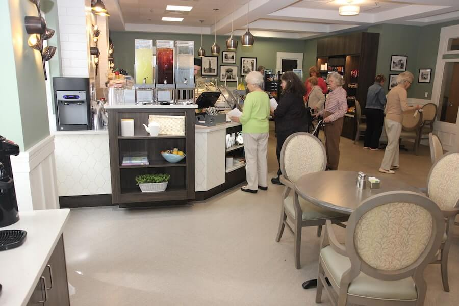 seniors visiting dining area