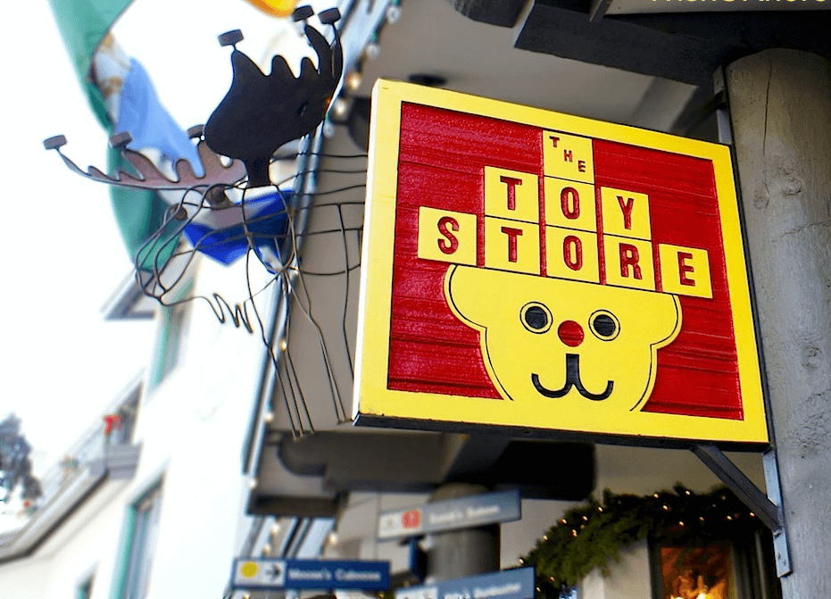 the toy store sign